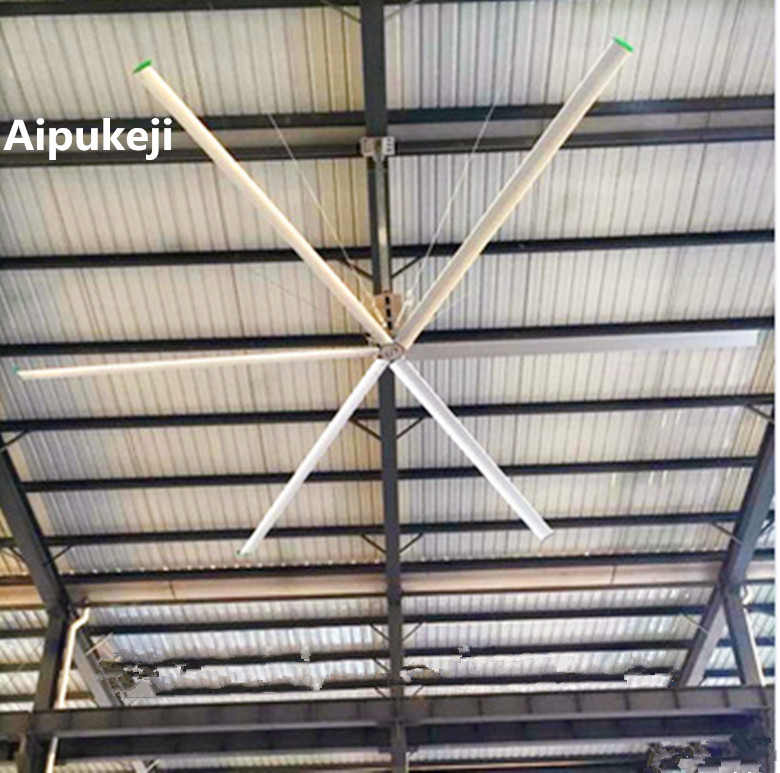 High Volume Low Speed 10 FT Ceiling Fan, AC Motor Ceiling Fan For Factory